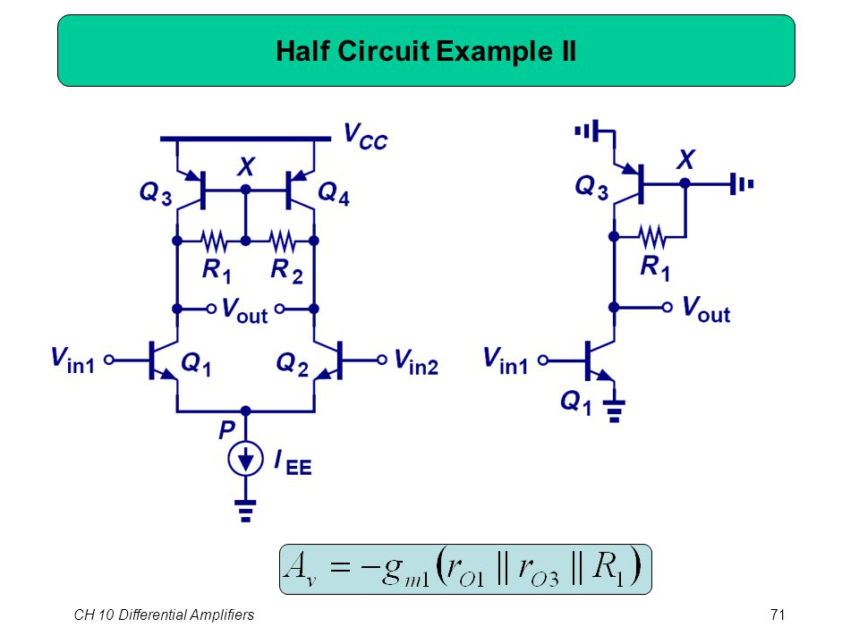 CH 10 Differential Amplifiers71 Half Circuit Example II