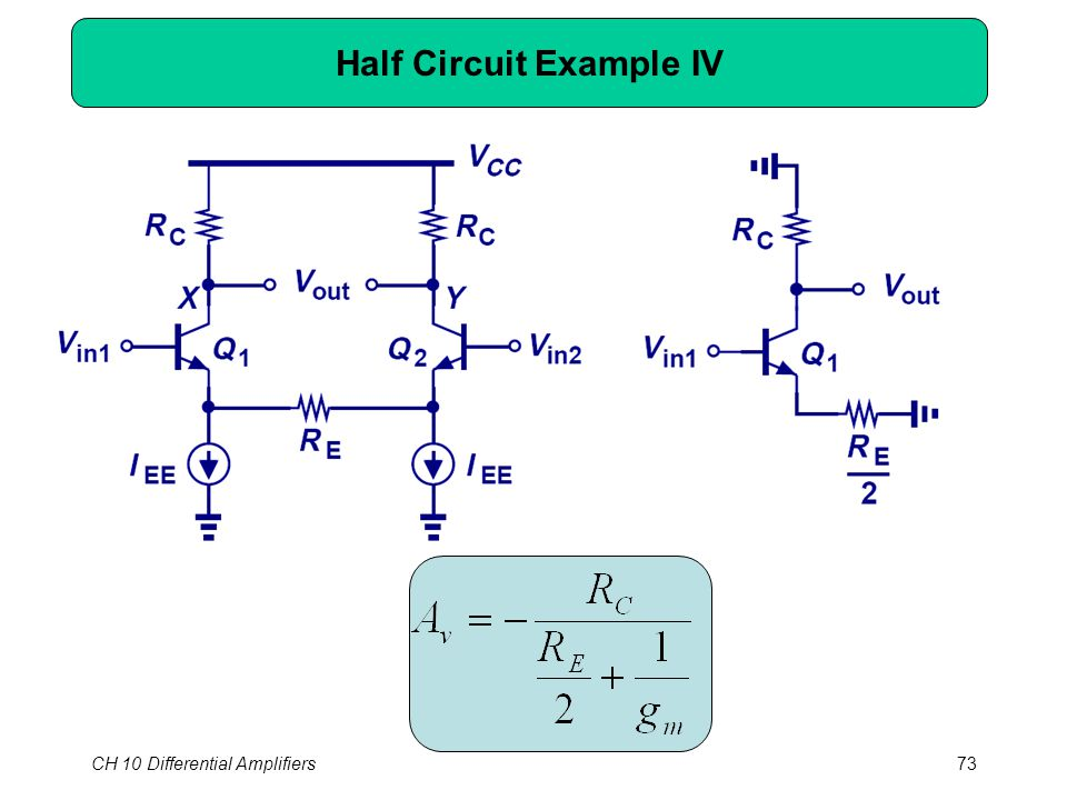 CH 10 Differential Amplifiers73 Half Circuit Example IV