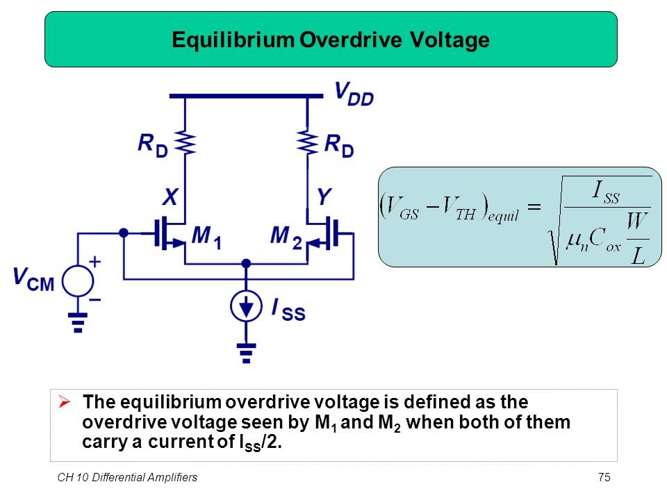 CH 10 Differential Amplifiers75 Equilibrium Overdrive Voltage  The equilibrium overdrive voltage is defined as the overdrive voltage seen by M 1 and