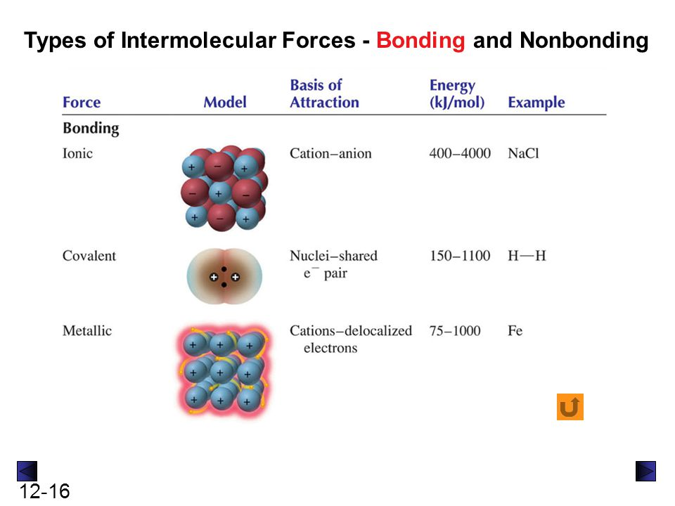 12-16 Types of Intermolecular Forces - Bonding and Nonbonding