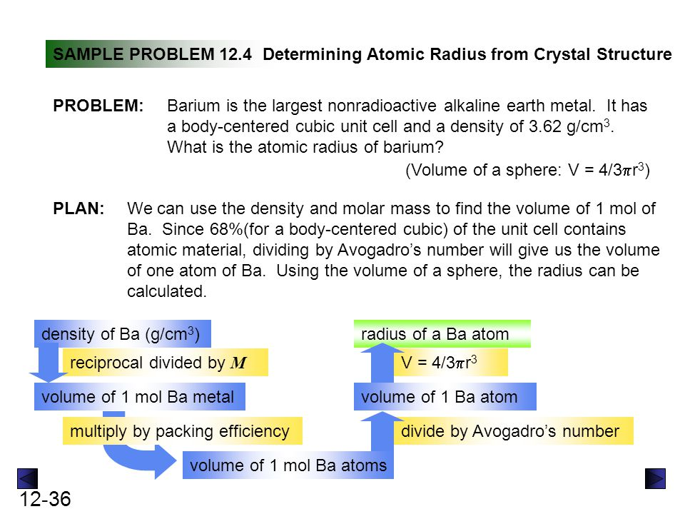 12-37 SAMPLE PROBLEM 12.4Determining Atomic Radius from Crystal Structure SOLUTION: continued Volume of Ba metal = 137.3 g Ba mol Ba = 37.9 cm 3 /mol Ba 37.9 cm 3 /mol Ba x 0.68= 26 cm 3 /mol Ba atoms mol Ba atoms 6.022x10 23 atoms = 4.3x10 -23 cm 3 /atom r 3 = 3V/4  = 2.2 x 10 -8 cm 1 cm 3 3.62 g x 26 cm 3 mol Ba atoms x