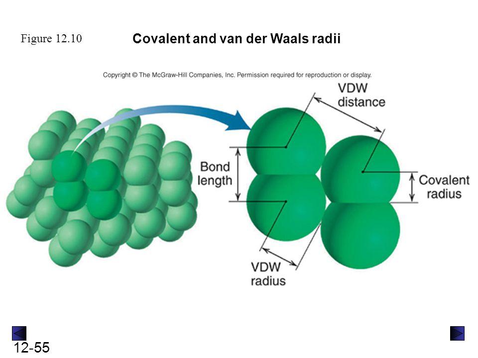 12-55 Figure 12.10 Covalent and van der Waals radii
