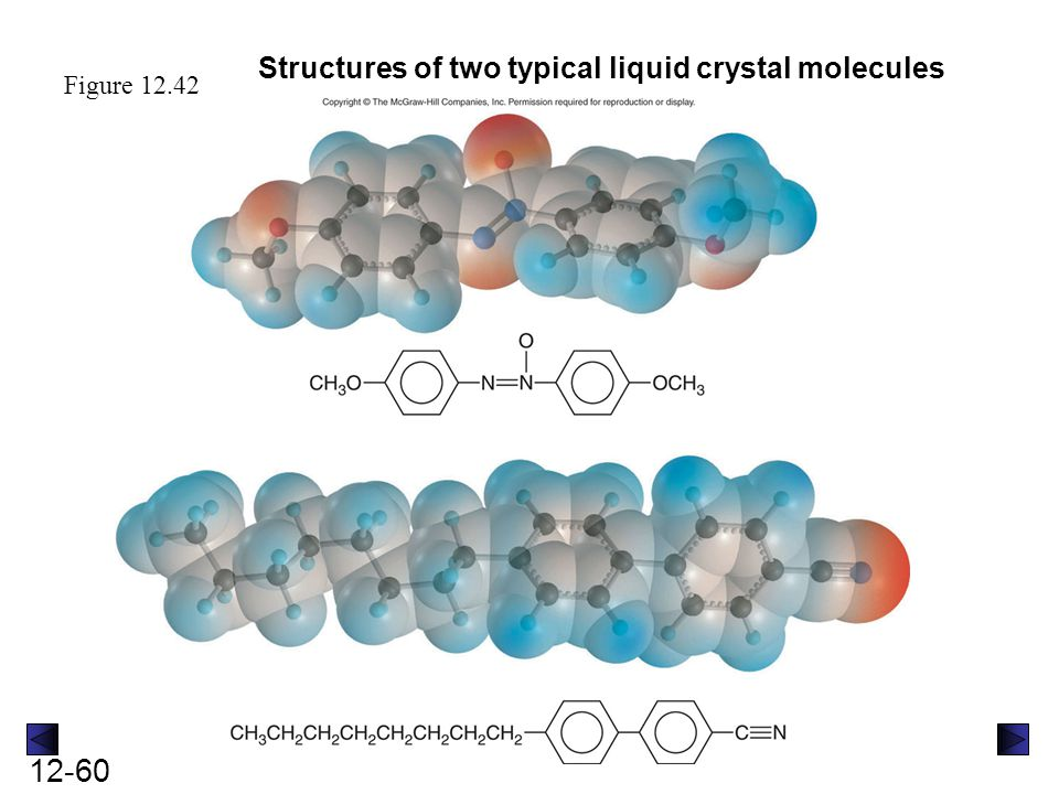 12-60 Figure 12.42 Structures of two typical liquid crystal molecules