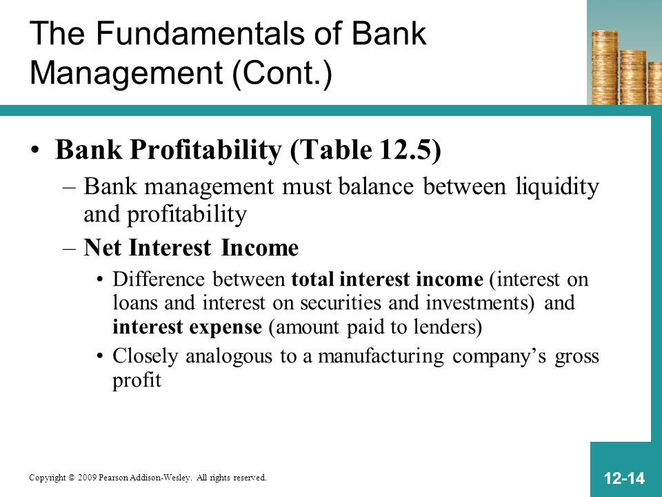 Copyright © 2009 Pearson Addison-Wesley. All rights reserved. 12-14 The Fundamentals of Bank Management (Cont.) Bank Profitability (Table 12.5) –Bank