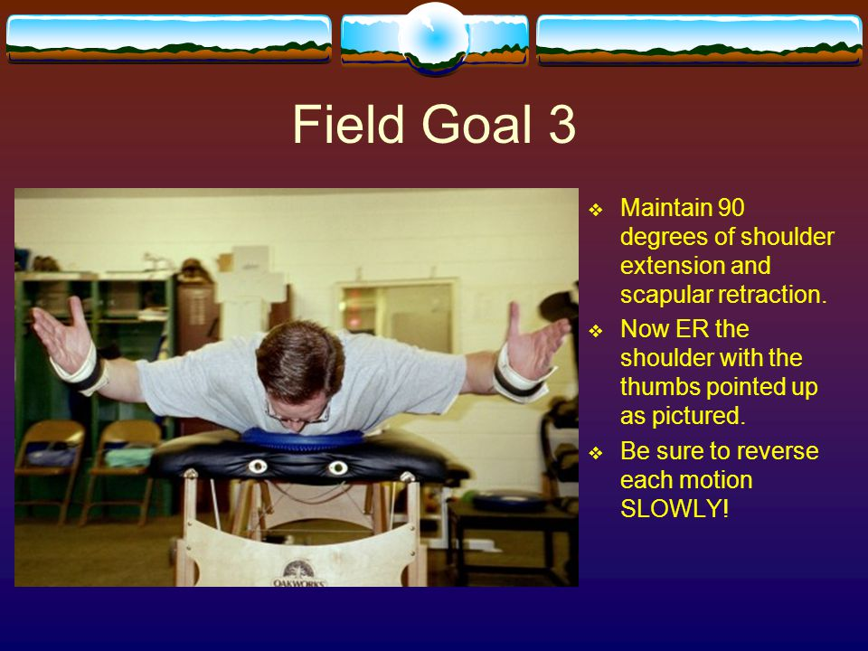Field Goal 3  Maintain 90 degrees of shoulder extension and scapular retraction.  Now ER the shoulder with the thumbs pointed up as pictured.  Be s