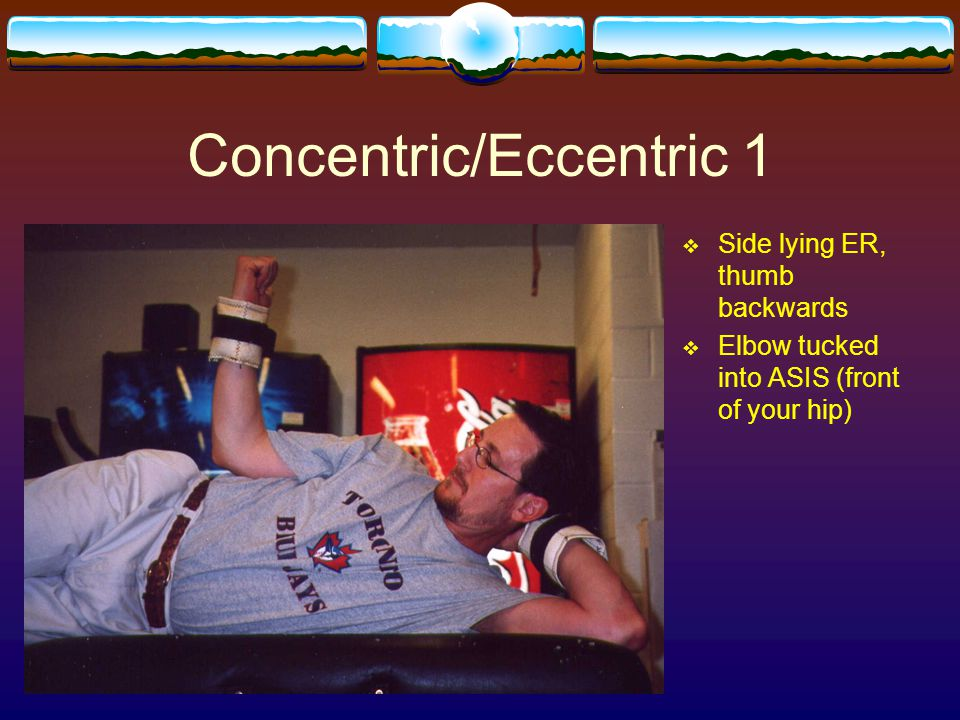 Concentric/Eccentric 1  Side lying ER, thumb backwards  Elbow tucked into ASIS (front of your hip)