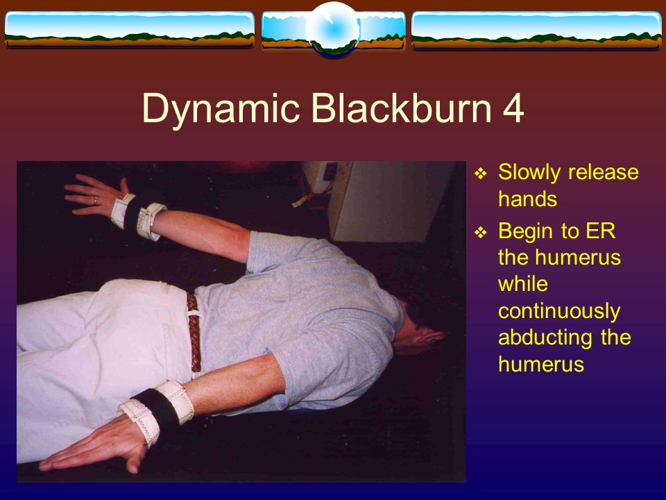 Dynamic Blackburn 4  Slowly release hands  Begin to ER the humerus while continuously abducting the humerus