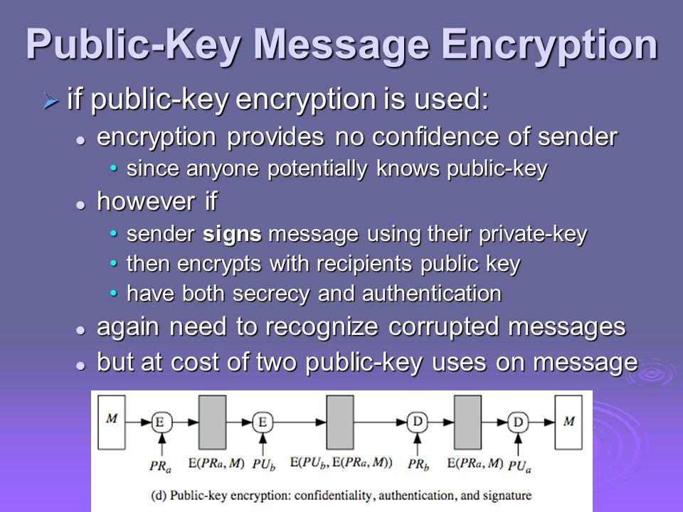 Public-Key Message Encryption  if public-key encryption is used: encryption provides no confidence of sender encryption provides no confidence of sen