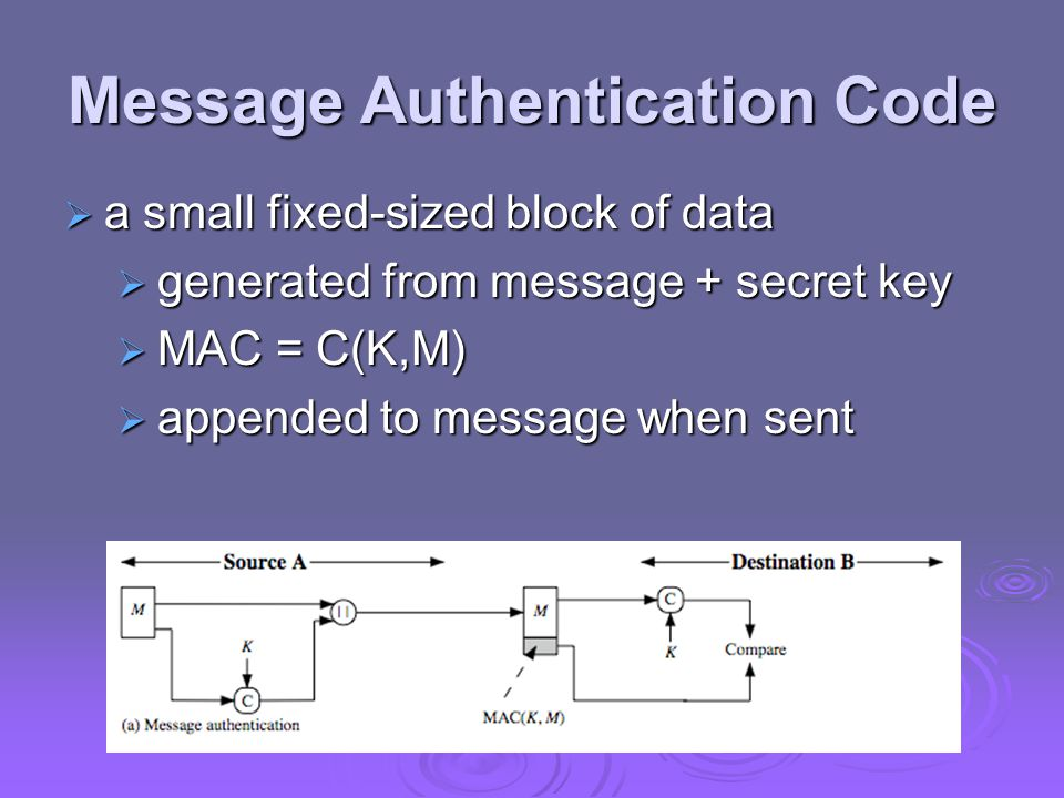 Message Authentication Code  a small fixed-sized block of data  generated from message + secret key  MAC = C(K,M)  appended to message when sent
