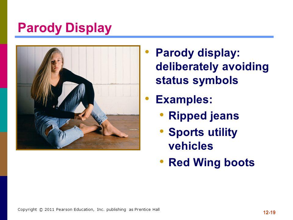 12-19 Copyright © 2011 Pearson Education, Inc. publishing as Prentice Hall Parody Display Parody display: deliberately avoiding status symbols Example