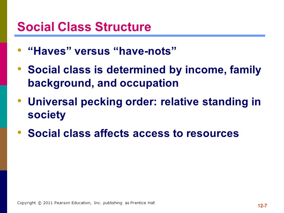 """12-7 Copyright © 2011 Pearson Education, Inc. publishing as Prentice Hall Social Class Structure """"Haves"""" versus """"have-nots"""" Social class is determined"""
