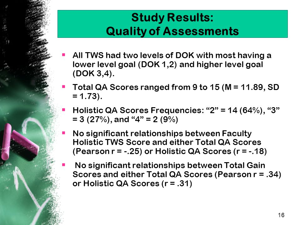 16 Study Results: Quality of Assessments  All TWS had two levels of DOK with most having a lower level goal (DOK 1,2) and higher level goal (DOK 3,4).