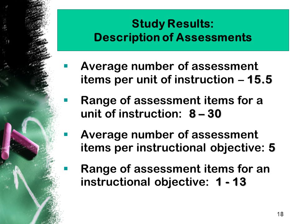 18 Study Results: Description of Assessments 15.5  Average number of assessment items per unit of instruction – 15.5 8 – 30  Range of assessment items for a unit of instruction: 8 – 30 5  Average number of assessment items per instructional objective: 5 1 - 13  Range of assessment items for an instructional objective: 1 - 13