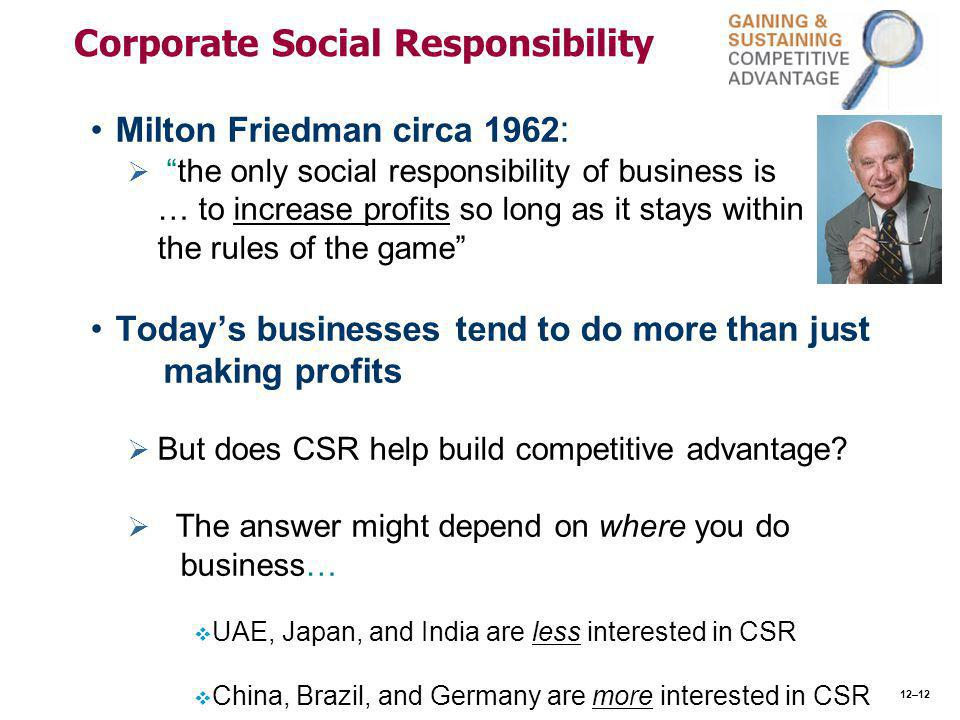 Corporate Social Responsibility Milton Friedman circa 1962 :   the only social responsibility of business is … to increase profits so long as it stays within the rules of the game Today's businesses tend to do more than just making profits   But does CSR help build competitive advantage.