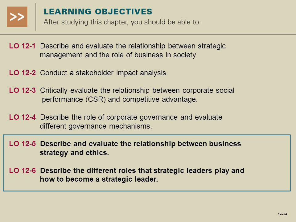 LO 12-1 Describe and evaluate the relationship between strategic management and the role of business in society.