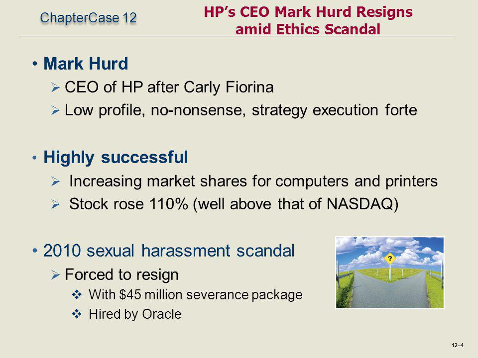 ChapterCase 12 HP's CEO Mark Hurd Resigns amid Ethics Scandal Mark Hurd  CEO of HP after Carly Fiorina  Low profile, no-nonsense, strategy execution forte Highly successful  Increasing market shares for computers and printers  Stock rose 110% (well above that of NASDAQ) 2010 sexual harassment scandal  Forced to resign  With $45 million severance package  Hired by Oracle 12–4
