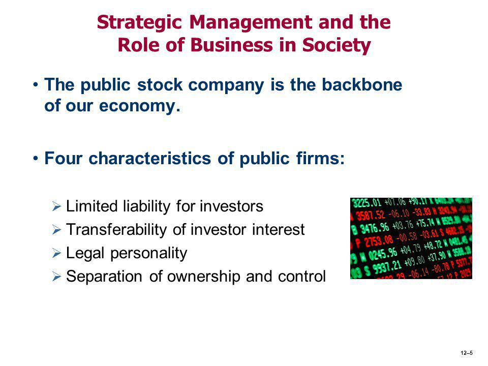 Strategic Management and the Role of Business in Society The public stock company is the backbone of our economy.