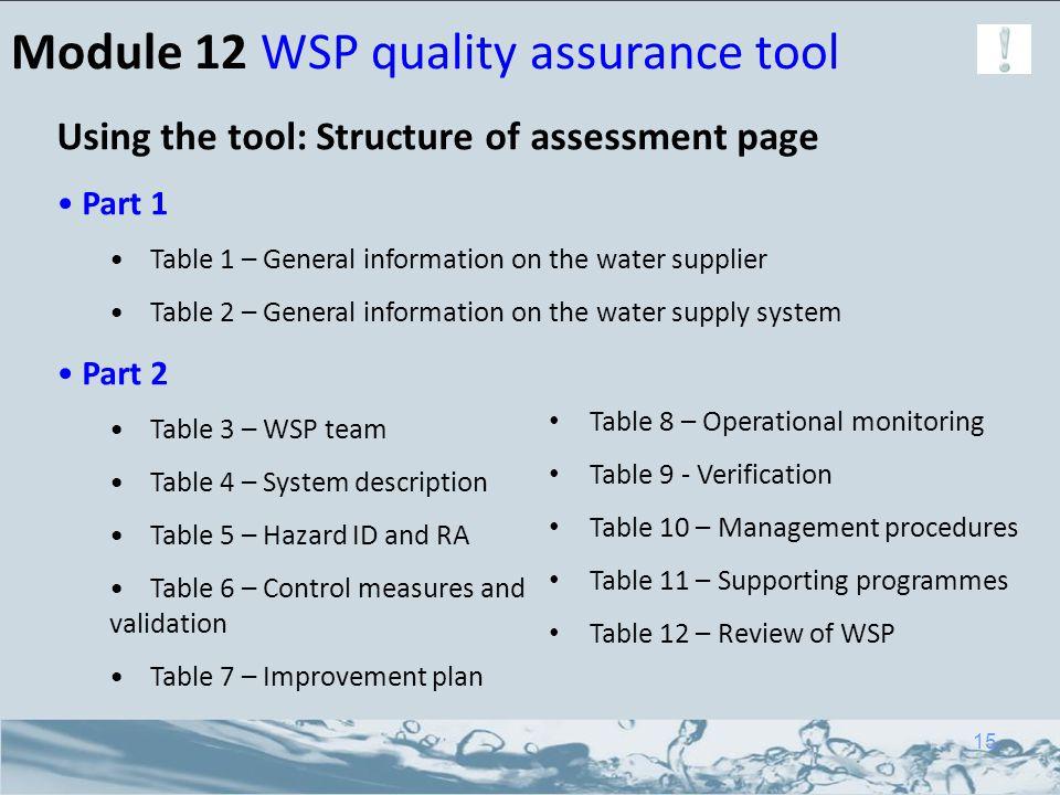 Module 12 WSP quality assurance tool Using the tool: Structure of assessment page Part 1 Table 1 – General information on the water supplier Table 2 –
