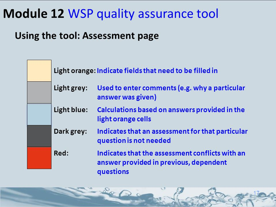 Module 12 WSP quality assurance tool Using the tool: Assessment page Light orange: Indicate fields that need to be filled in Light grey: Used to enter