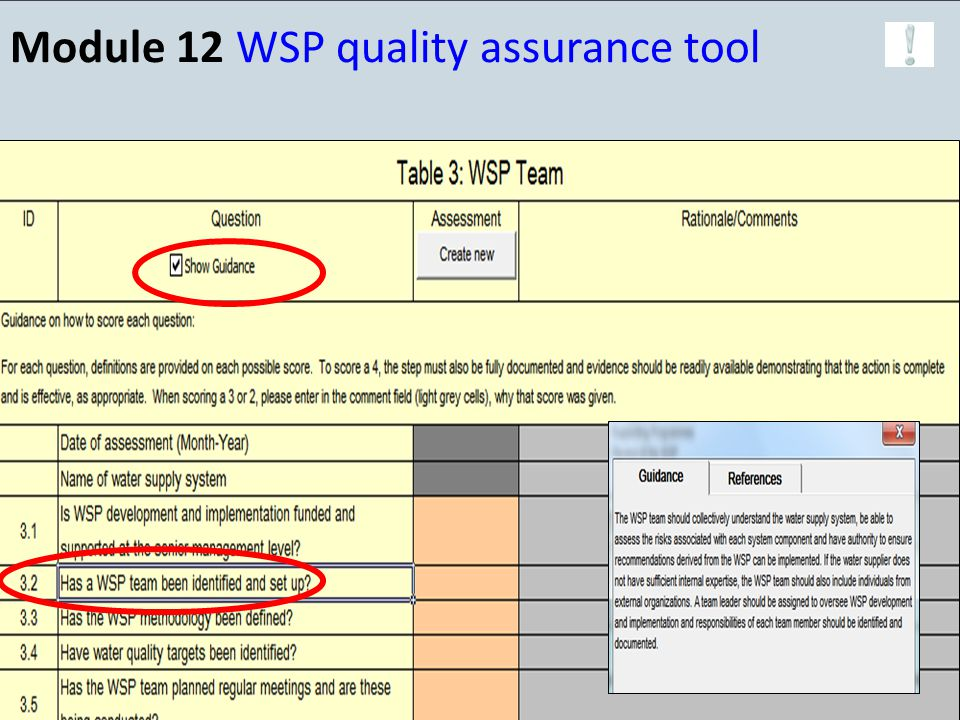 Module 12 WSP quality assurance tool 19