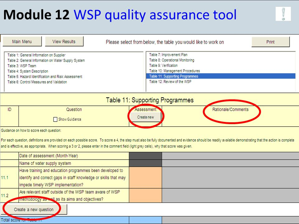 Module 12 WSP quality assurance tool 23