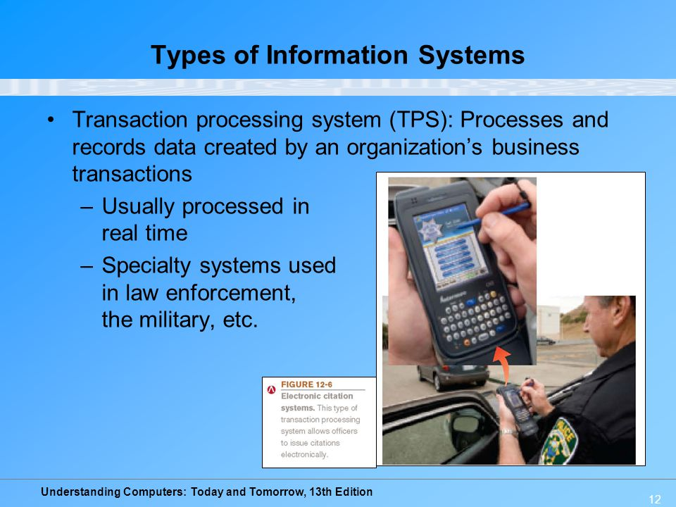 Understanding Computers: Today and Tomorrow, 13th Edition 12 Types of Information Systems Transaction processing system (TPS): Processes and records d