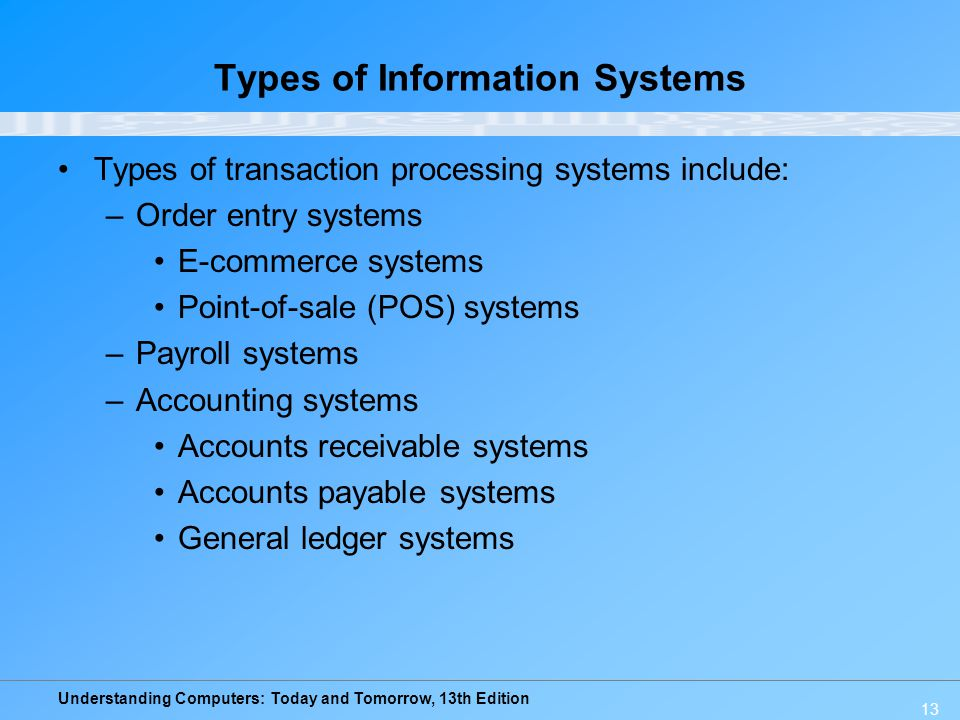 Understanding Computers: Today and Tomorrow, 13th Edition 13 Types of Information Systems Types of transaction processing systems include: –Order entr
