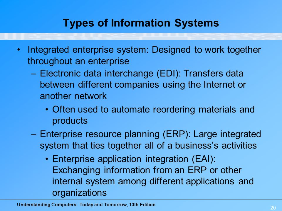 Understanding Computers: Today and Tomorrow, 13th Edition 20 Types of Information Systems Integrated enterprise system: Designed to work together throughout an enterprise –Electronic data interchange (EDI): Transfers data between different companies using the Internet or another network Often used to automate reordering materials and products –Enterprise resource planning (ERP): Large integrated system that ties together all of a business's activities Enterprise application integration (EAI): Exchanging information from an ERP or other internal system among different applications and organizations