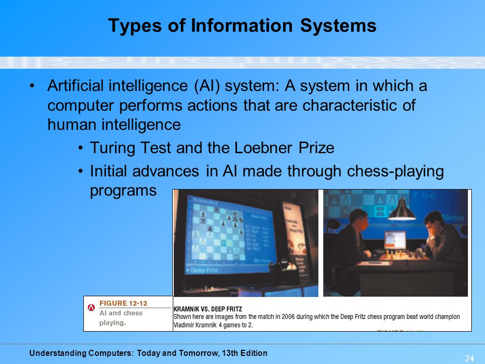 Understanding Computers: Today and Tomorrow, 13th Edition 24 Types of Information Systems Artificial intelligence (AI) system: A system in which a computer performs actions that are characteristic of human intelligence Turing Test and the Loebner Prize Initial advances in AI made through chess-playing programs