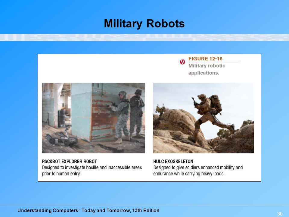 Understanding Computers: Today and Tomorrow, 13th Edition 30 Military Robots
