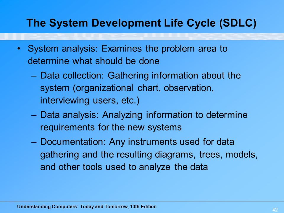 Understanding Computers: Today and Tomorrow, 13th Edition 42 System analysis: Examines the problem area to determine what should be done –Data collect