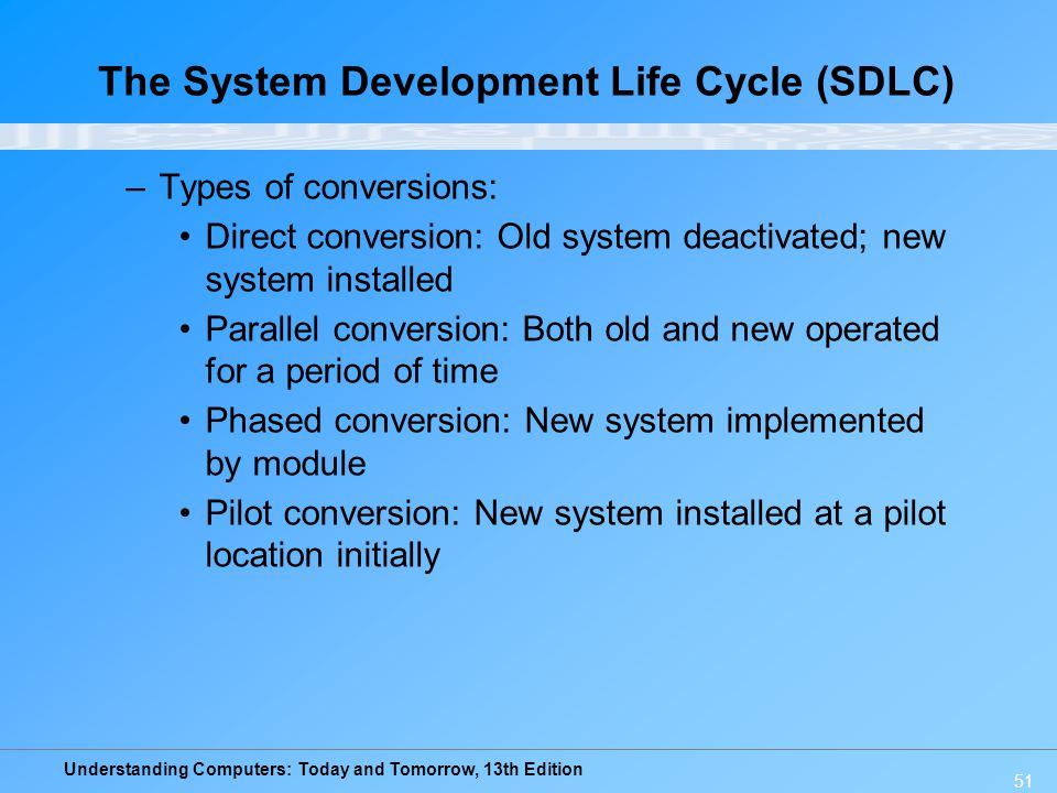 Understanding Computers: Today and Tomorrow, 13th Edition 51 –Types of conversions: Direct conversion: Old system deactivated; new system installed Pa