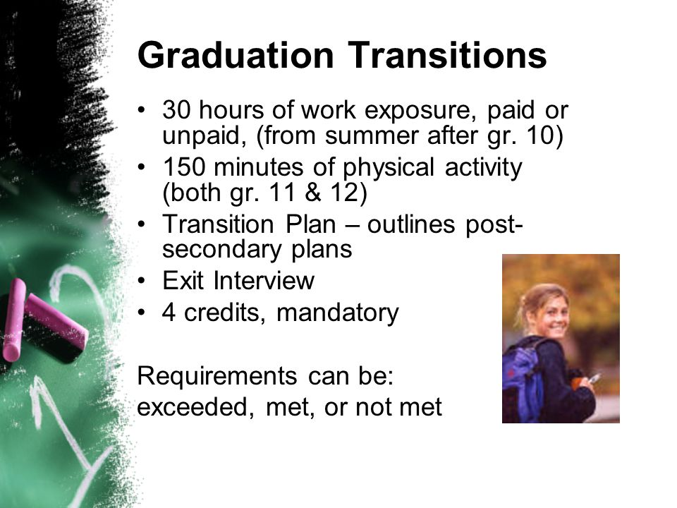 Graduation Transitions 30 hours of work exposure, paid or unpaid, (from summer after gr. 10) 150 minutes of physical activity (both gr. 11 & 12) Trans