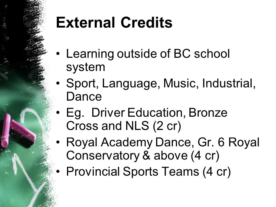 External Credits Learning outside of BC school system Sport, Language, Music, Industrial, Dance Eg. Driver Education, Bronze Cross and NLS (2 cr) Roya