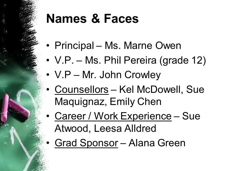 Names & Faces Principal – Ms. Marne Owen V.P. – Ms. Phil Pereira (grade 12) V.P – Mr. John Crowley Counsellors – Kel McDowell, Sue Maquignaz, Emily Ch