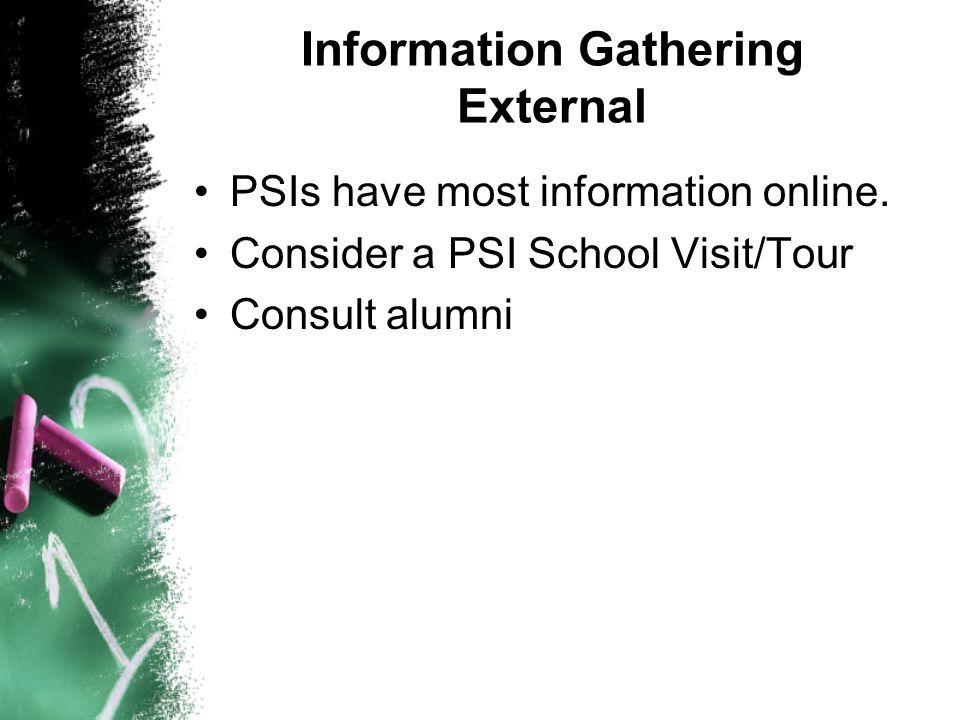 Information Gathering External PSIs have most information online. Consider a PSI School Visit/Tour Consult alumni