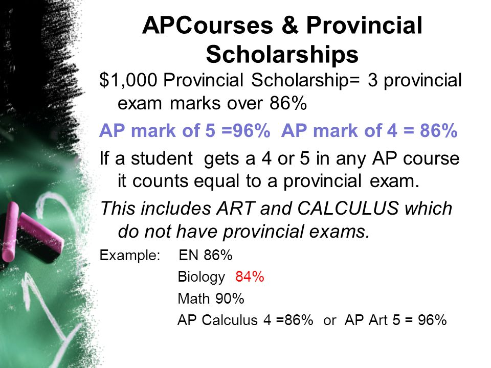 APCourses & Provincial Scholarships $1,000 Provincial Scholarship= 3 provincial exam marks over 86% AP mark of 5 =96% AP mark of 4 = 86% If a student