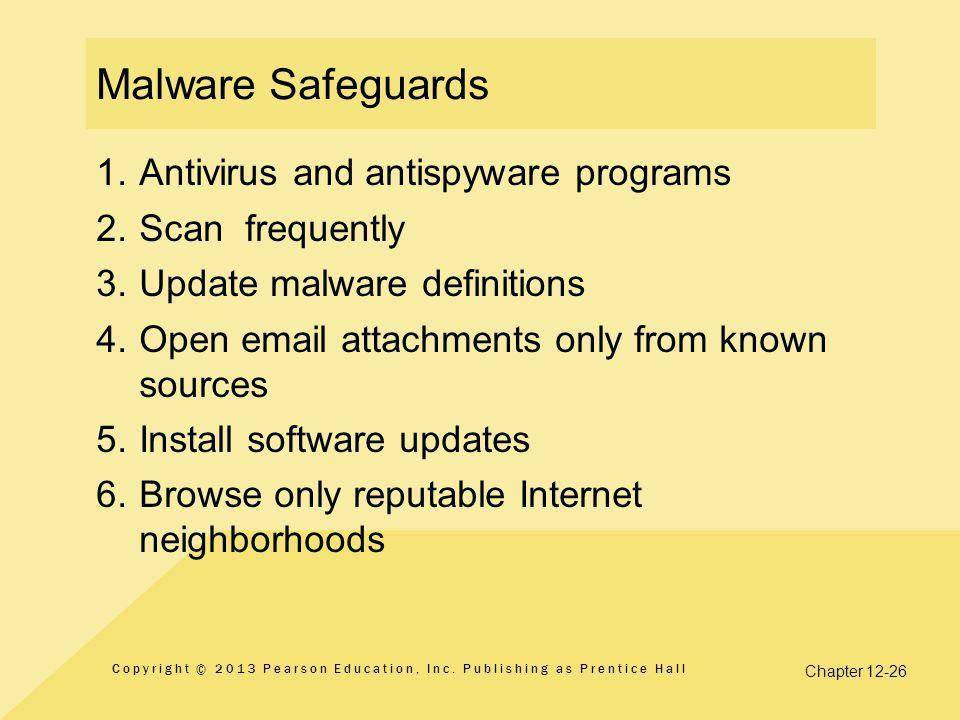 Chapter 12-26 Malware Safeguards 1.Antivirus and antispyware programs 2.
