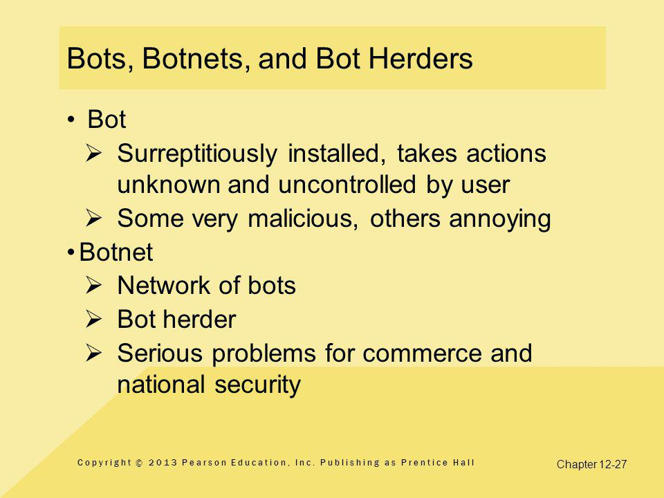 Chapter 12-27 Bots, Botnets, and Bot Herders Bot  Surreptitiously installed, takes actions unknown and uncontrolled by user  Some very malicious, others annoying Botnet  Network of bots  Bot herder  Serious problems for commerce and national security  Copyright © 2013 Pearson Education, Inc.
