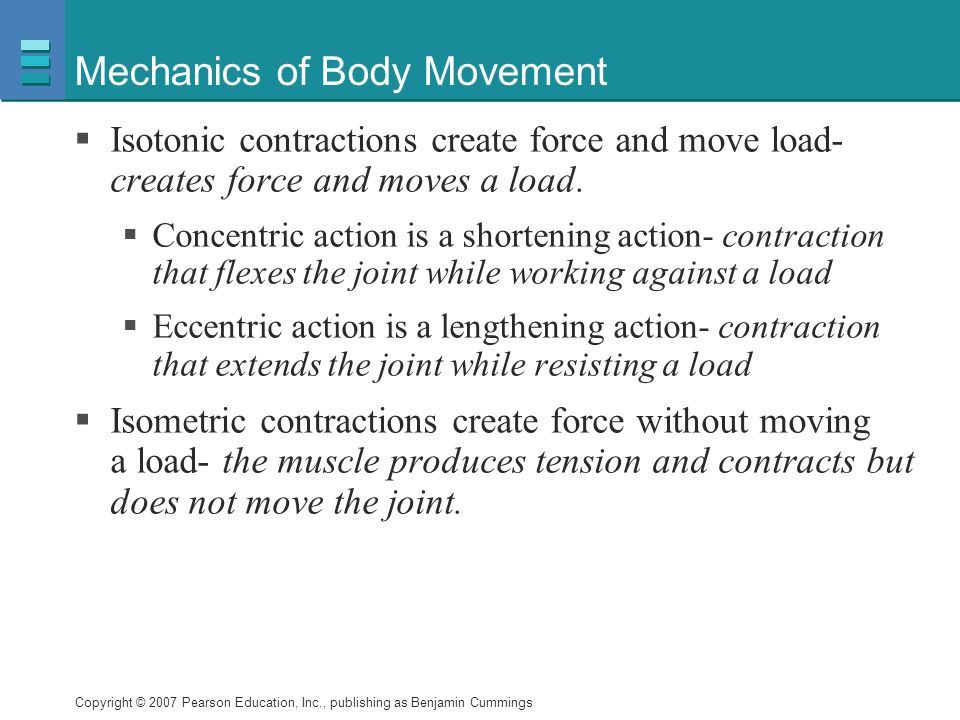 Copyright © 2007 Pearson Education, Inc., publishing as Benjamin Cummings Mechanics of Body Movement  Isotonic contractions create force and move loa