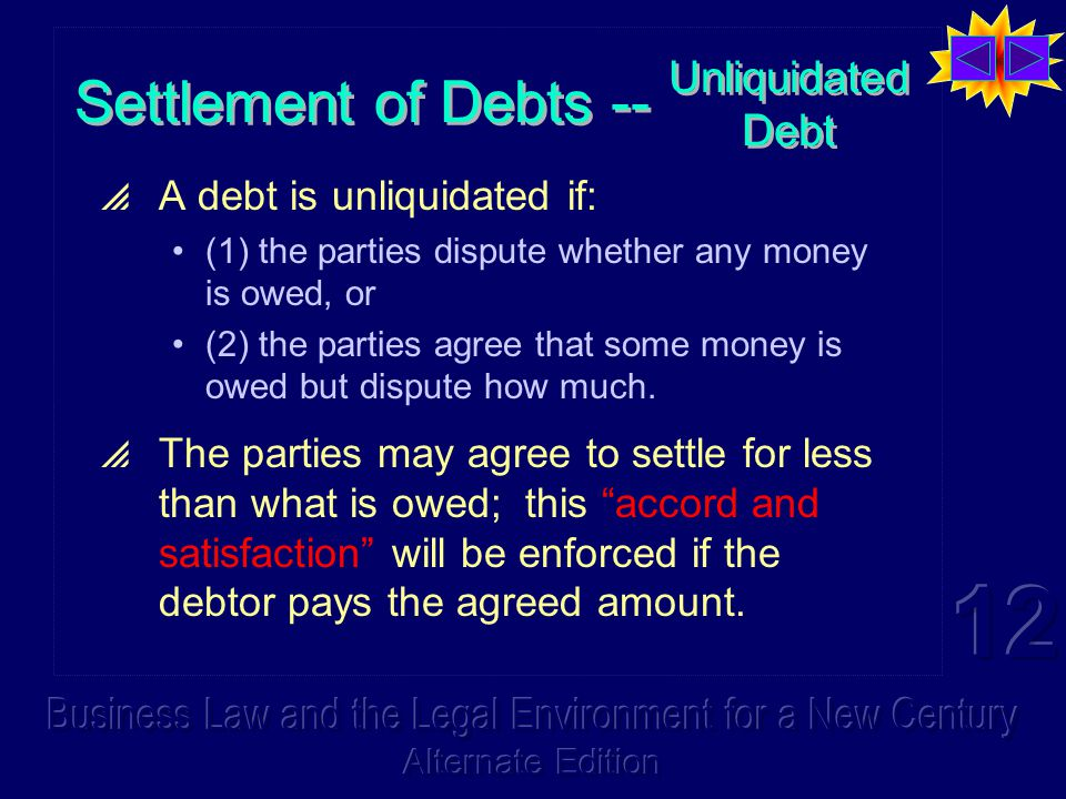  A debt is unliquidated if: (1) the parties dispute whether any money is owed, or (2) the parties agree that some money is owed but dispute how much.