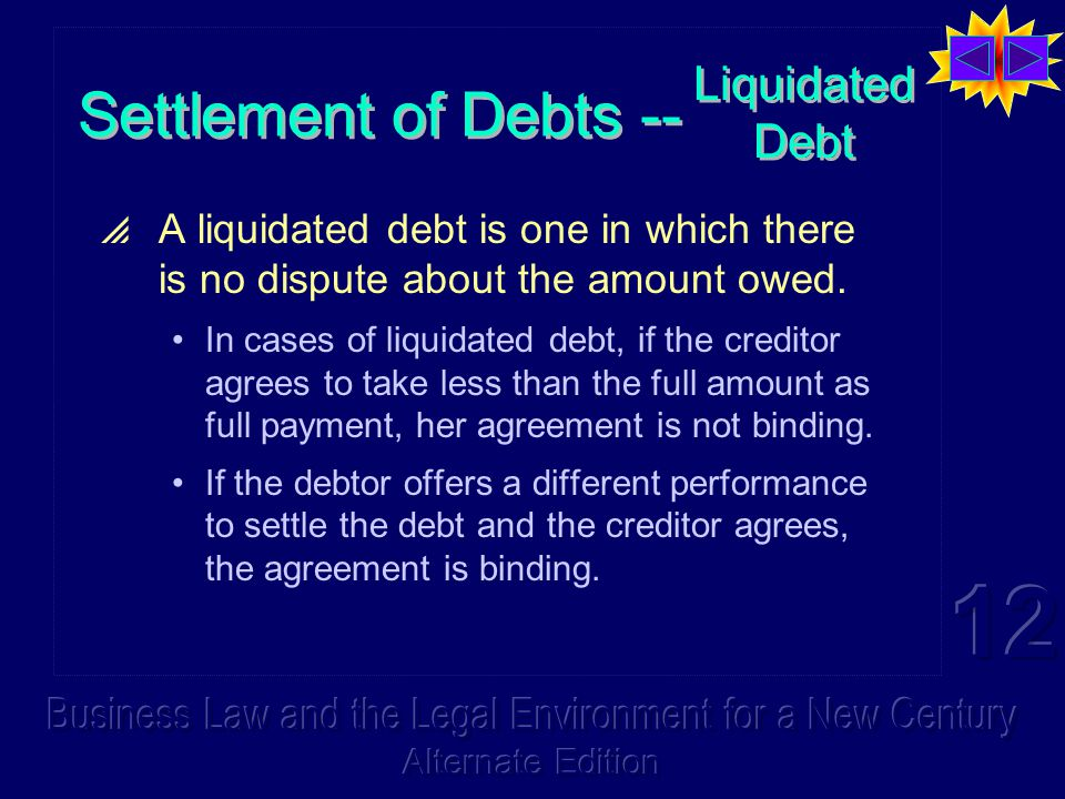 Liquidated Debt  A liquidated debt is one in which there is no dispute about the amount owed. In cases of liquidated debt, if the creditor agrees to