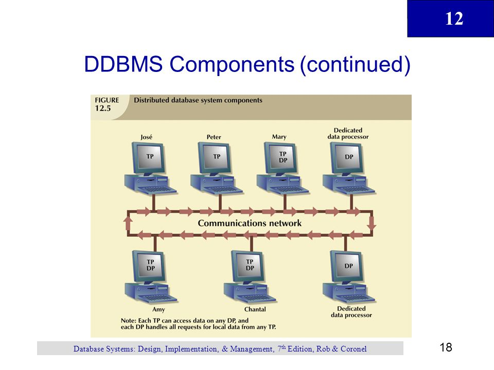 12 18 Database Systems: Design, Implementation, & Management, 7 th Edition, Rob & Coronel DDBMS Components (continued)
