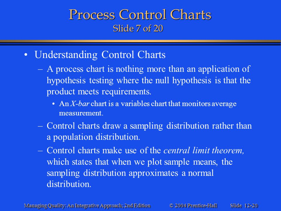 Slide 12-20 © 2004 Prentice-Hall Managing Quality: An Integrative Approach; 2nd Edition Process Control Charts Slide 7 of 20 Process Control Charts Sl