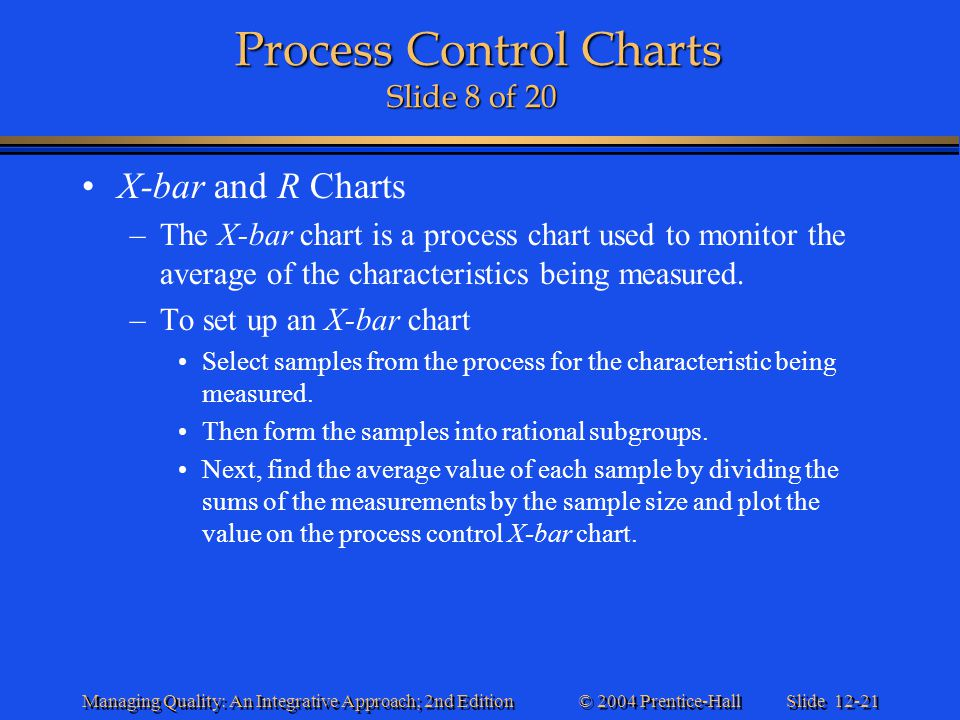 Slide 12-21 © 2004 Prentice-Hall Managing Quality: An Integrative Approach; 2nd Edition Process Control Charts Slide 8 of 20 Process Control Charts Sl