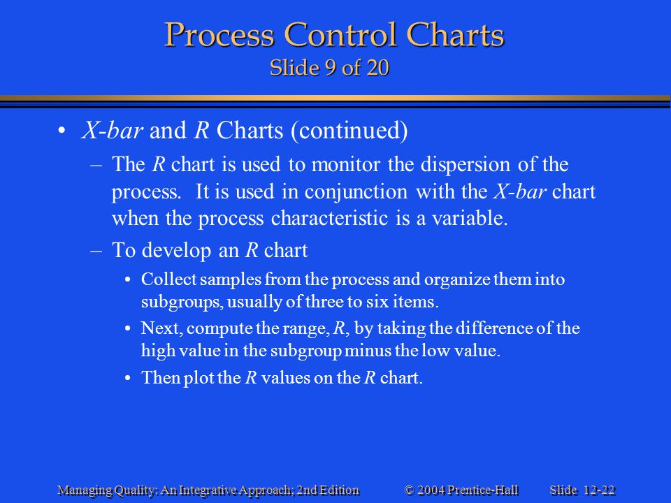 Slide 12-22 © 2004 Prentice-Hall Managing Quality: An Integrative Approach; 2nd Edition Process Control Charts Slide 9 of 20 Process Control Charts Sl