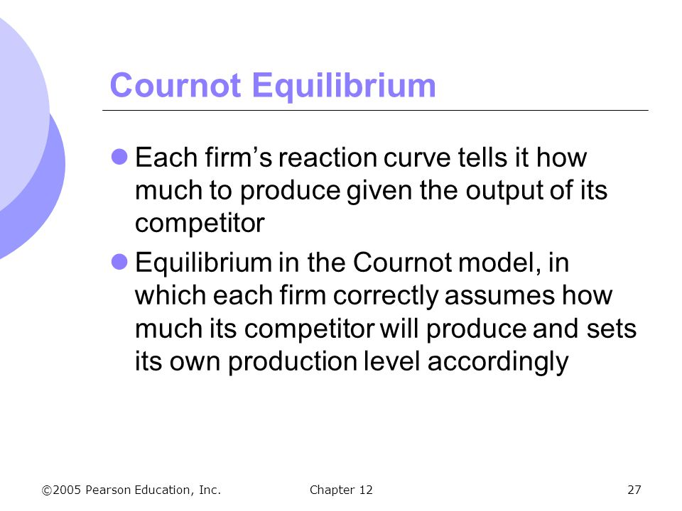 ©2005 Pearson Education, Inc. Chapter 1227 Cournot Equilibrium Each firm's reaction curve tells it how much to produce given the output of its competi