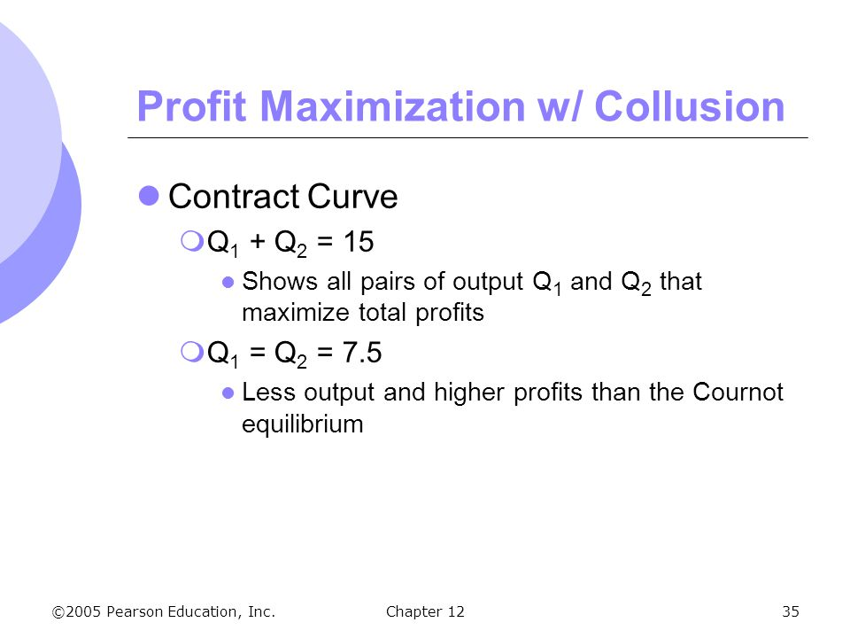 ©2005 Pearson Education, Inc. Chapter 1235 Profit Maximization w/ Collusion Contract Curve  Q 1 + Q 2 = 15 Shows all pairs of output Q 1 and Q 2 that
