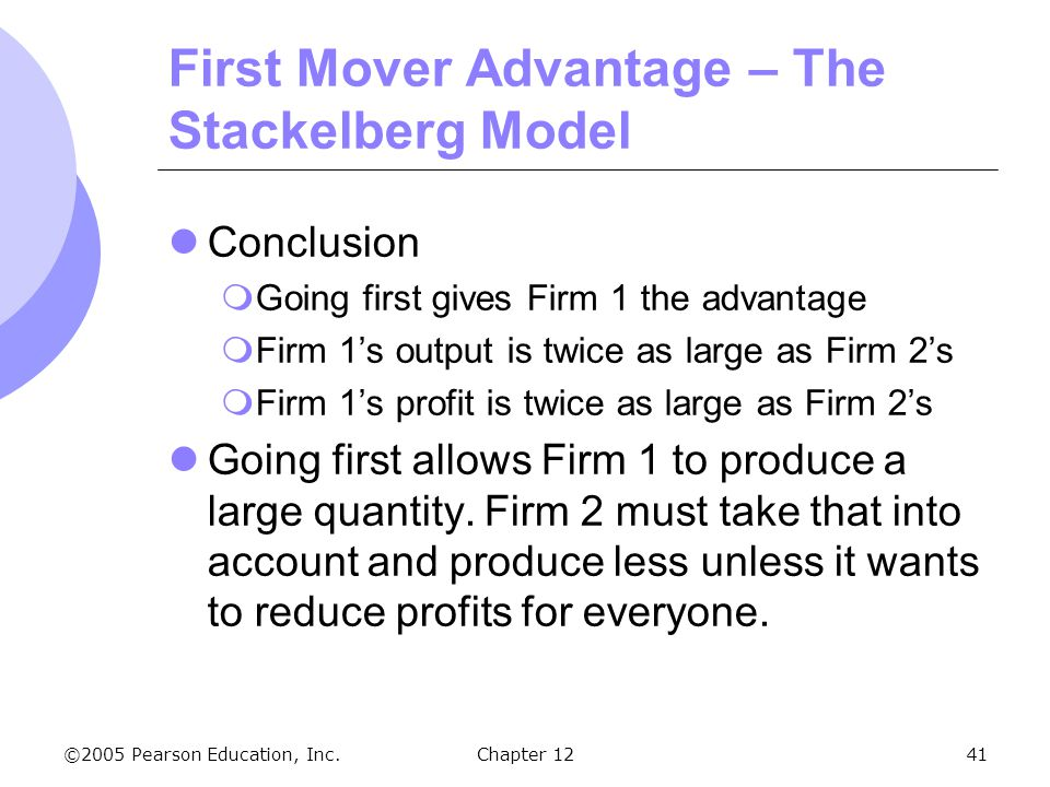 ©2005 Pearson Education, Inc. Chapter 1241 First Mover Advantage – The Stackelberg Model Conclusion  Going first gives Firm 1 the advantage  Firm 1'