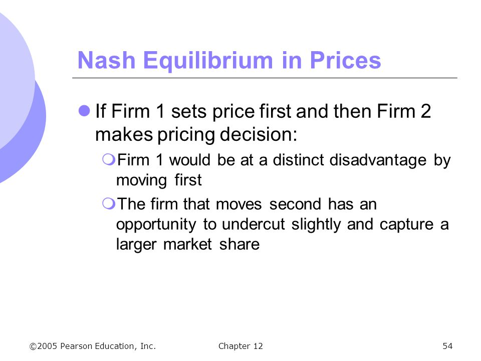 ©2005 Pearson Education, Inc. Chapter 1254 Nash Equilibrium in Prices If Firm 1 sets price first and then Firm 2 makes pricing decision:  Firm 1 woul